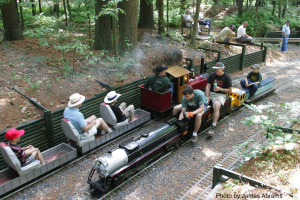 Trains pass on the mainline during the Annual Meet